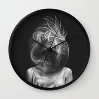 wind Wall Clocks featuring Wind by Illustratic