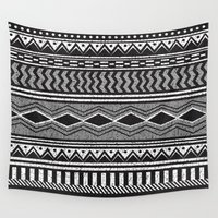 ethnic Wall Tapestries featuring Ethnic Black by Louise Machado