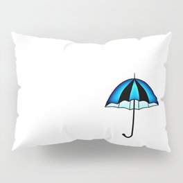Bright Blue Black Rain Umbrella Illustration Pillow Sham