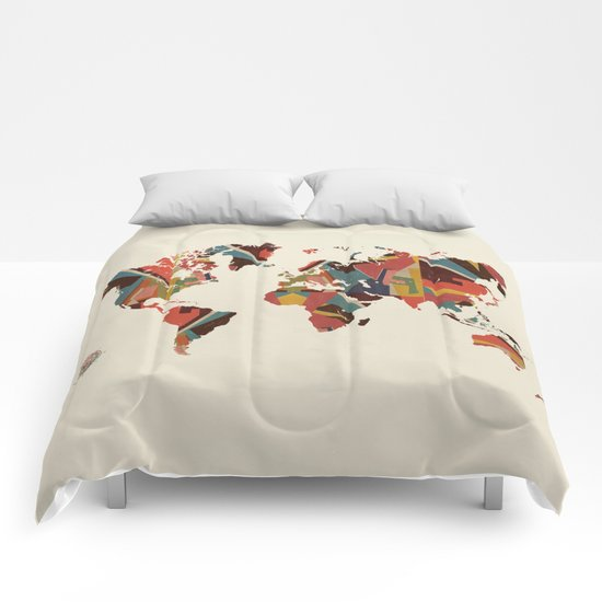 world map retro Comforters