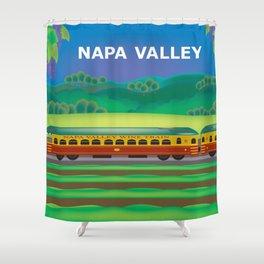 Napa Valley, California - Skyline Illustration by Loose Petals Shower Curtain