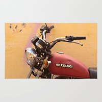 motorbike Area & Throw Rugs featuring Vintage motorbike  by Theoteom
