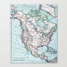 Colorful Vintage North America Map Canvas Print