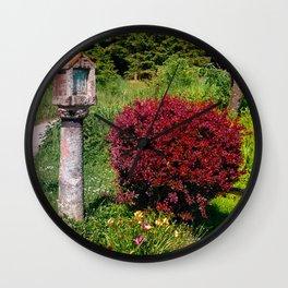 Wayside cross and a bush Wall Clock