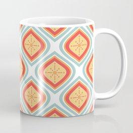 Mid Century Modern Mandala Retro Muted Turquoise Orange Coffee Mug