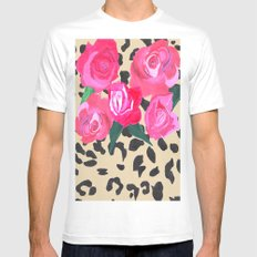 Roses and Leopard Print MEDIUM Mens Fitted Tee White