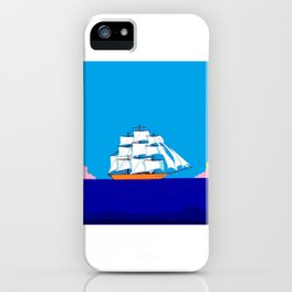 A Clipper Ship at Sunset, Pink clouds and Sun, Nautical Scene iPhone Case