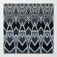Art Deco Abstract Pattern Leaves - black white Canvas Print
