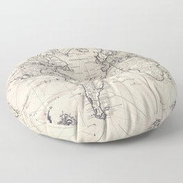 Vintage Map of The World (1750) Floor Pillow