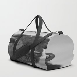 Buffalo Stance - Bison Portrait in Black and White Duffle Bag