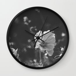 Black and white anemone flowers Wall Clock