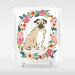 Pug flower ring cute dog gift idea valentines day love pet animal pugs cute puppy dogs floral Shower Curtain