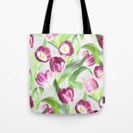 Bright Tulips on Soft Grey Tote Bag