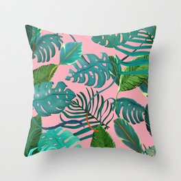 pinky tropical leaves Throw Pillow