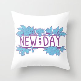 New;Day Purple and Cyan Throw Pillow