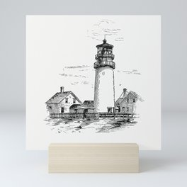 Highland lighthouse from Truro Cape Cod Or Landmarks And Sea Marks Illustrations Mini Art Print