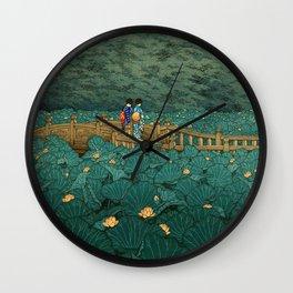 Vintage Japanese Woodblock Print Kawase Hasui Japanese Children Lotus Flowers Garden Wooden Bridge Wall Clock