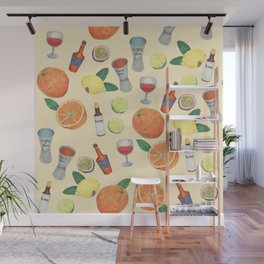 cocktail recipe pattern _ zombie Wall Mural