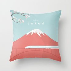Vintage Japan Travel Poster Throw Pillow