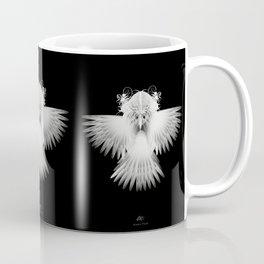 Strange Hummingbird 1.White on black background. Coffee Mug