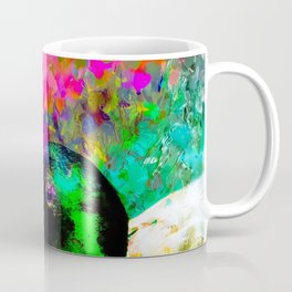 mallard duck with pink green brown purple yellow painting abstract background Coffee Mug