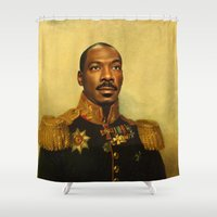 replaceface Shower Curtains featuring Eddie Murphy - replaceface by replaceface