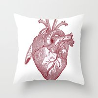 anatomical heart Throw Pillows featuring anatomical heart by Kristian