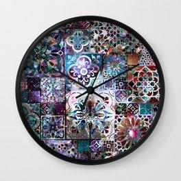 Celestial Tile Pattern Wall Clock