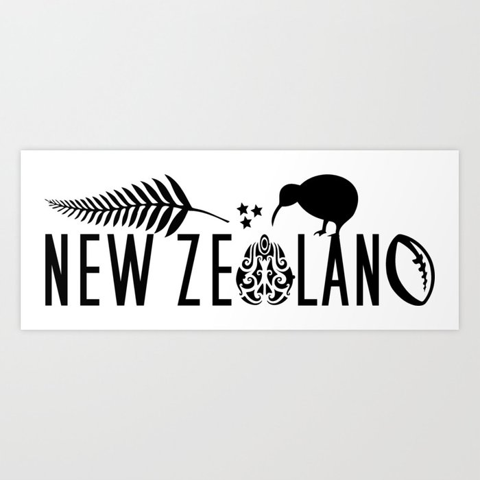 New Zealand Icons - Maori Kiwi Fern Rugby Art Print