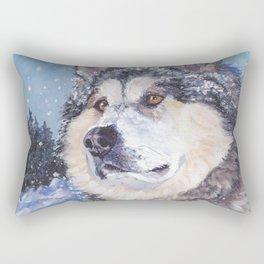 Alaskan Malamute dog portrait Fine Art Dog Painting by L.A.Shepard Rectangular Pillow