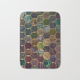honeycomb mermaid scales Bath Mat