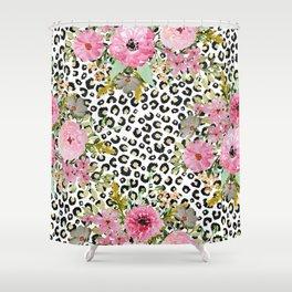 Elegant leopard print and floral design Shower Curtain