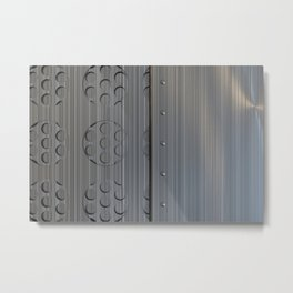 Brushed metal plate with rivets and circular grille Metal Print