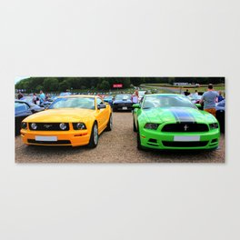 Yellow and Green Mustangs Canvas Print