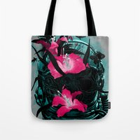 the last of us Tote Bags featuring The Last of Us by angrymonk