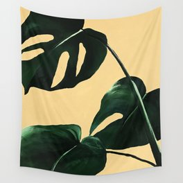 Monstera on Yellow Wall Tapestry