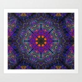 Mandala Glitch Stained Glass Art Print