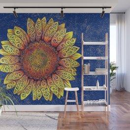 Swirly Sunflower Wall Mural