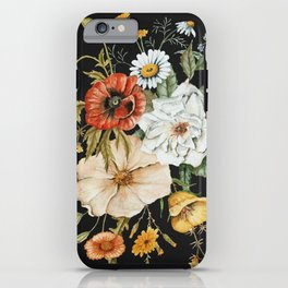 Wildflower Bouquet on Charcoal iPhone Case