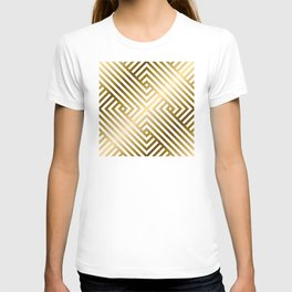 Art Deco Gold and Alabaster White Geometric Pattern T-shirt