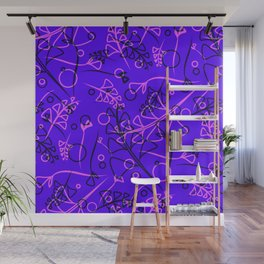 Vegetal purple and violet stems and elements on an eggplant background in a natural style. Wall Mural