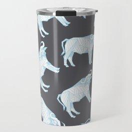 African Animals - Buffalo Grey Travel Mug