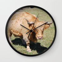 bull Wall Clocks featuring Bull by Sarah Shanely Photography