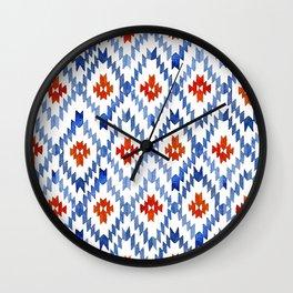 blue rhombus balinese ikat Wall Clock