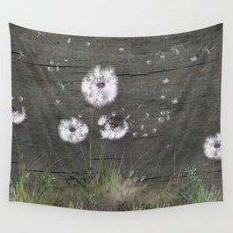 Rustic Barn Wood Series: Dandelion Seeds Fly Away Wall Tapestry