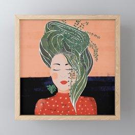 Plant lady Framed Mini Art Print