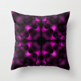 Bright pattern of blurry black and pink flowers in a dark kaleidoscope. Throw Pillow