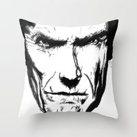 clint eastwood Throw Pillows featuring Clint Eastwood by Zombie Rust
