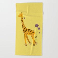 Yellow Funny Roller Skating Giraffe Beach Towel