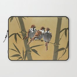Three Sparrows In Bamboo Tree Laptop Sleeve